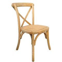Children's Crossback Chair with Wicker Padded Seat Limewash