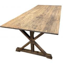 "8ft x 40"" Cross Leg Style Farm Table (RUSTIC)"