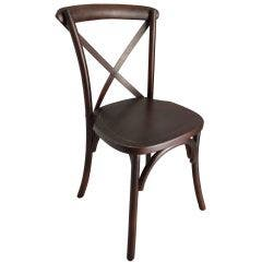Crossback Chair with Free Cushion - Solid Seat Dark Fruitwood