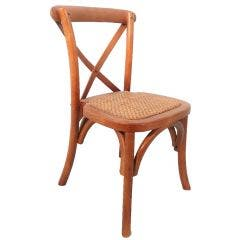 Children's Crossback Chair with Wicker Padded Seat Medium Natural