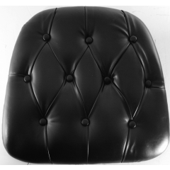 Chiavari Tufted Vinyl Wood Base Cushion BLACK