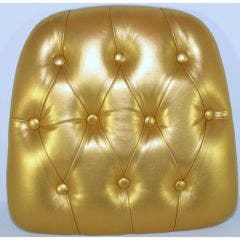 Chiavari Tufted Vinyl Wood Base Cushion Gold